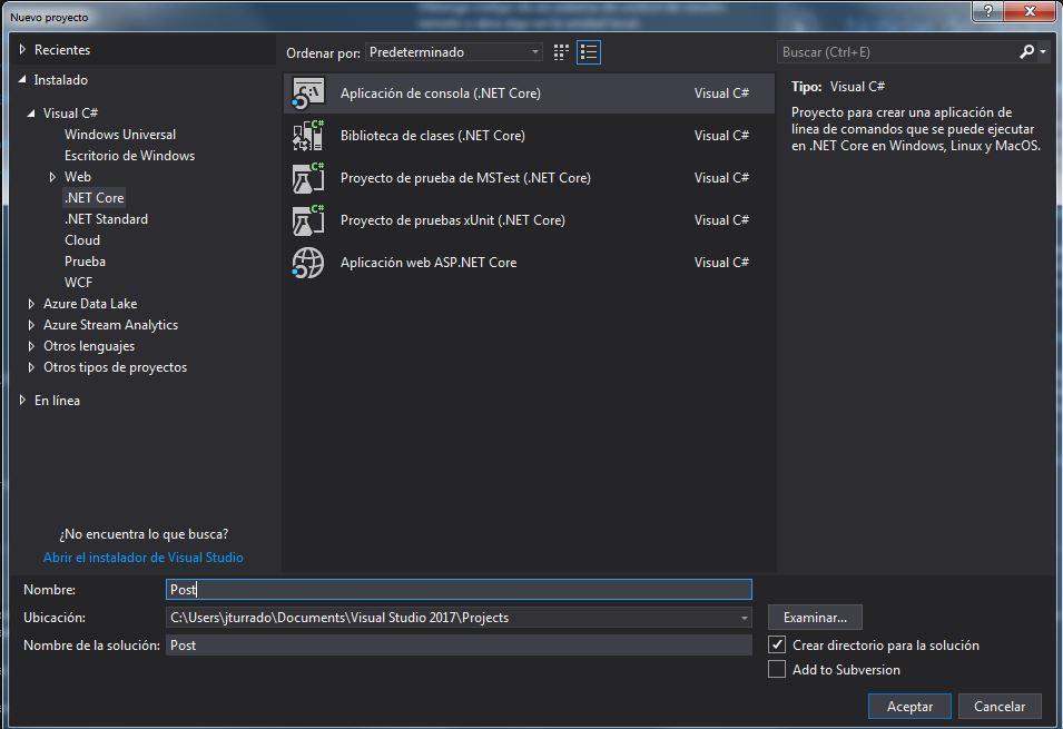 La imagen muestra la creación de un proyecto de consola net core