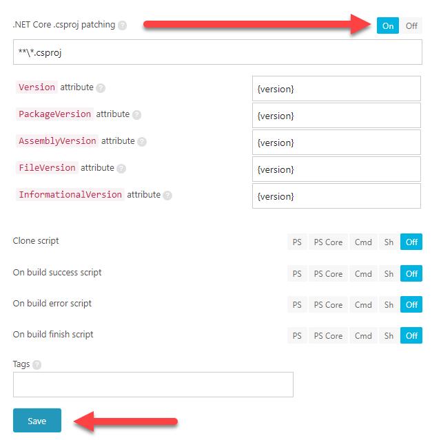 La imagen muestra como activar el parcheo de versión del paquete Nuget en AppVeyor