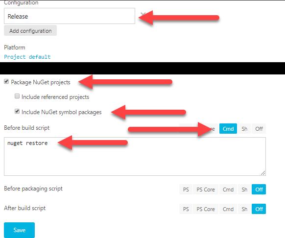 """La imagen muestra la configuración del menú """"Build"""""""