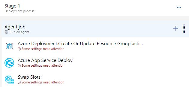 La imagen muestra el resultado de añadir las 3 tareas al job de Azure Pipelines