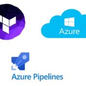 La imagen muestra los logos de terraform, azure pipelines y azure cloud