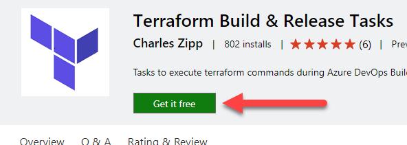 La imagen muestra el botón para instalar las Task de Terraform en Azure Pipelines