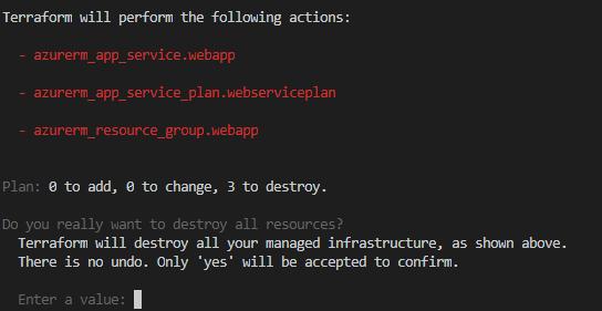 La imagen muestra las acciones que va a hacer el comando terraform destroy