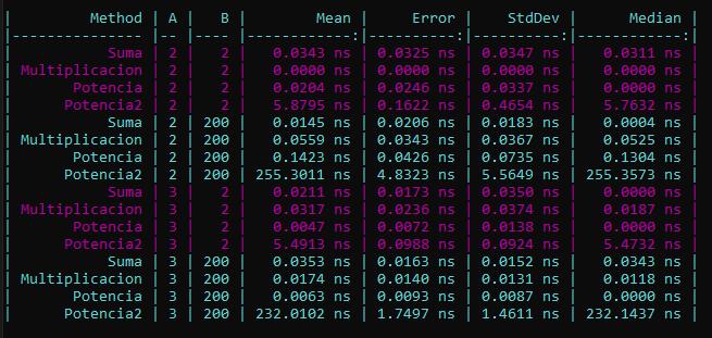 La imagen muestra los resultados de la ejecución son parametros
