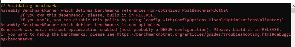 La imagen muestra la salida de la consola cuando ejecutamos un benchamrk sin estar en release