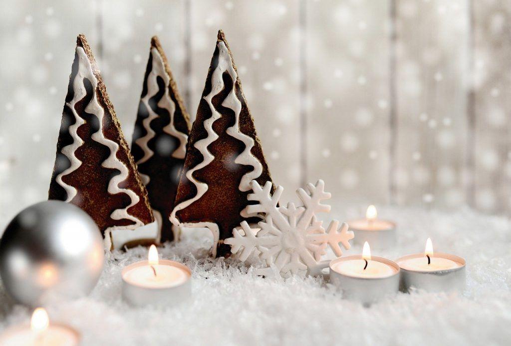 La imagen muestra unos arboles de navidad con nieve