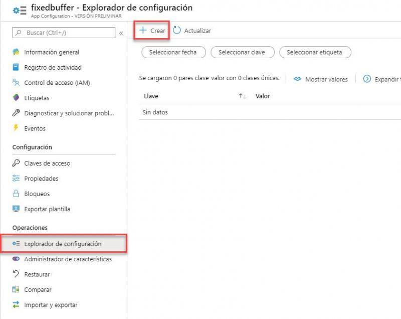 La imagen muestra el panel principal de Azure App Services indicados los botones `Explorador de configuración` y `Crear`