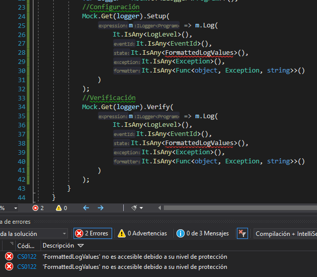 La imagen muestra el error de accesibilidad al tratar de hacer mock a ILogger en .Net Core 3.x