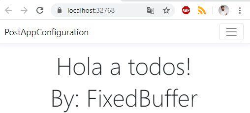 La imagen muestra la web con los mensajes obtenidos desde Azure App Configuration