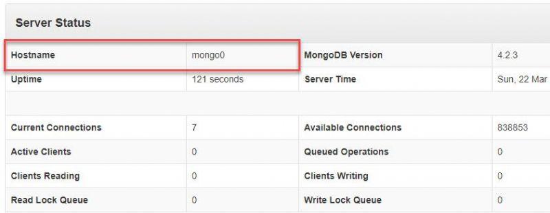 La imagen señala el apartado Hostname del cliente web donde se puede ver el calor mongo0