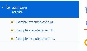 """La imagen muestra la visualización con el mensaje especifico """"Example executed over"""" y el sistema operativo del agente para cada uno de los 3 casos"""