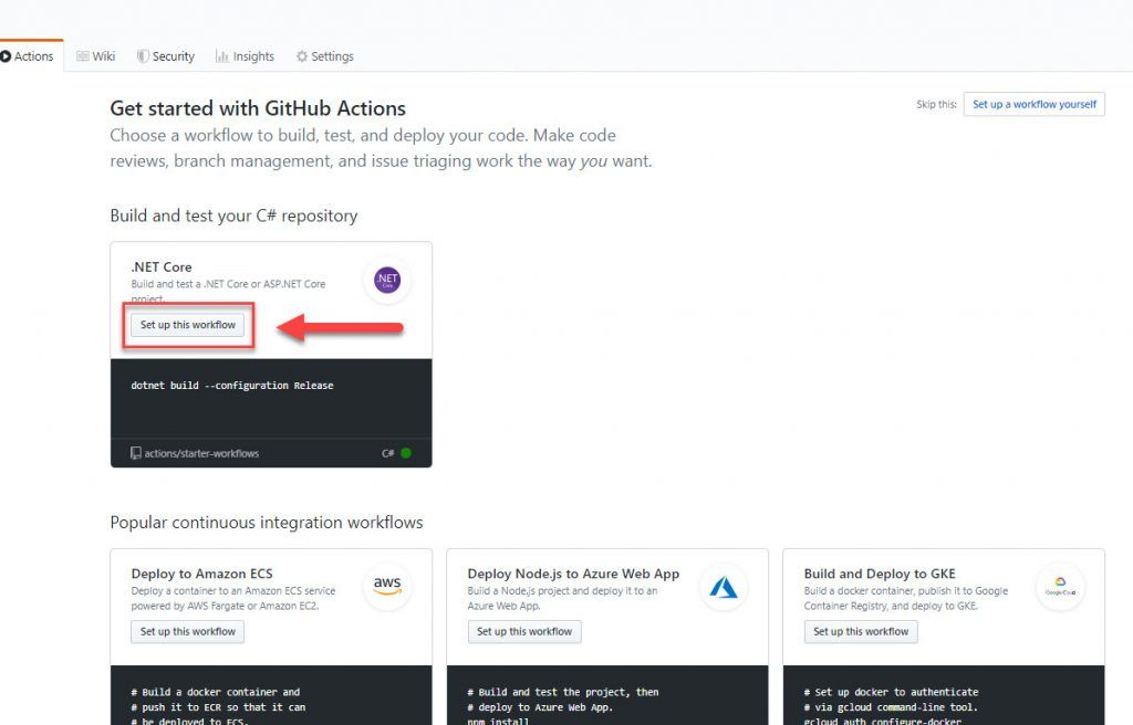 """La imagen señala el botón """"set up this workflow"""" de .Net Core dentro del menu de Github Actions"""
