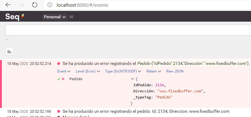 """La imagen muestra desplegada una traza generada desde .Net Core con Serilog  y enviada a Seq, donde se lee: """"Se ha producido un error registrando el Pedido"""", y junto al mensaje un json con los datos del pedido."""