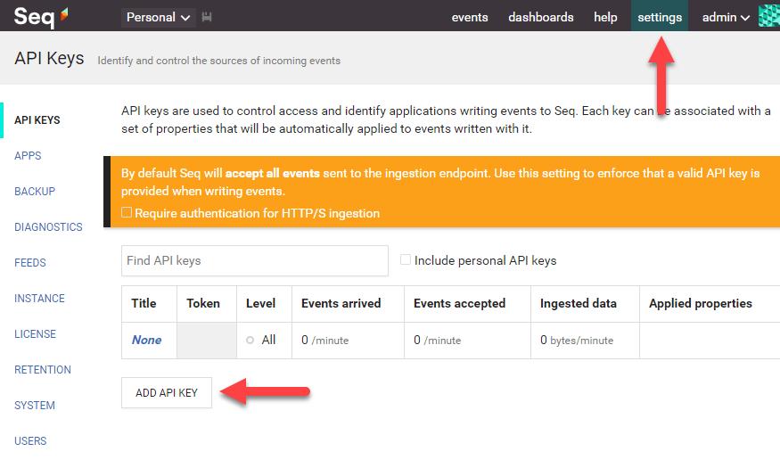 """La imagen señala los botones """"settings"""" de la parte superior derecha y """"ADD API KEY"""" de la parte inferior izquierda"""
