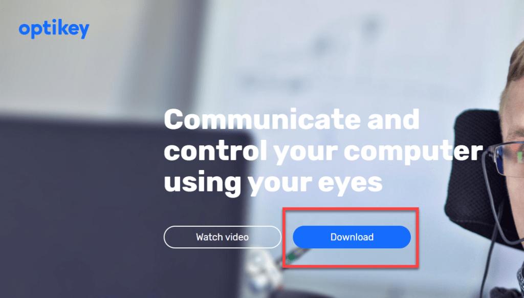 La imagen muestra el botón de download de la página web de OptiKey