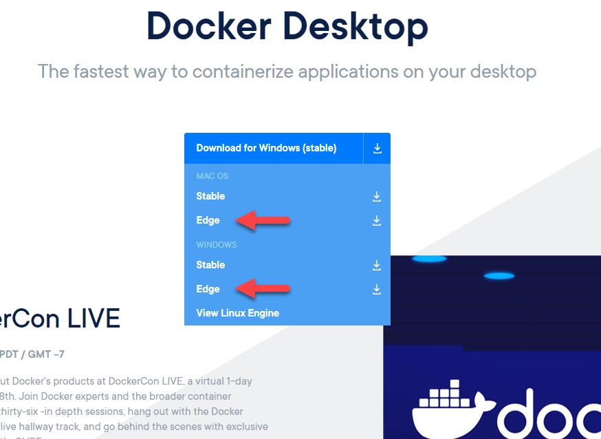 La imagen señala el canal Edge de MacOS y de Windows en la sección de descargas de Docker Desktop