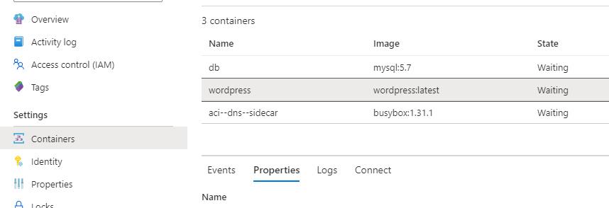 La imagen muestra la interfaz de Azure donde se ve centro del aci que se han desplegado los contenedores db, wordpress y aci--dns--sidecar