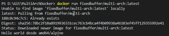 La imagen muestra el comando docker run desde un equipo Windows con Docker for Descktop donde la salida es Hello world desde amd64/alpine