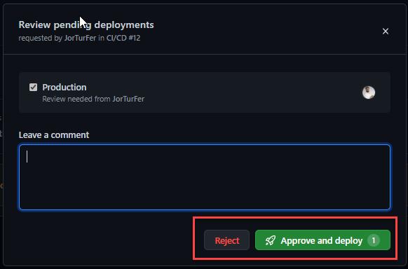 La imagen muestra los botónes de aprobación y de rechazo de la acción