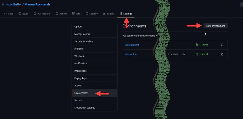 La imagen señala la pestaña 'Settings', dentro de ella el botón 'Environments' y dentro de este panel el botón 'New environment'